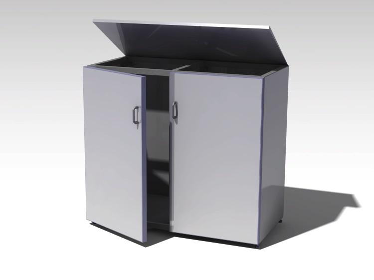 Mülltonnenbox aus Metall/Aluminium - 2er Ausführung