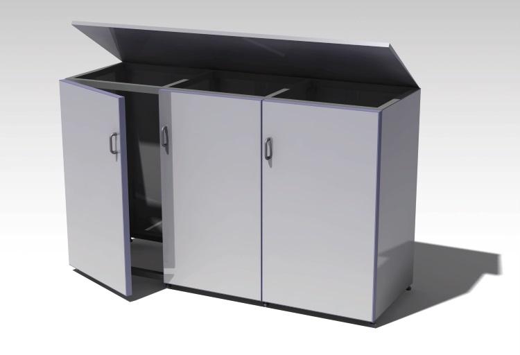 Mülltonnenbox aus Metall/Aluminium - 3er Ausführung